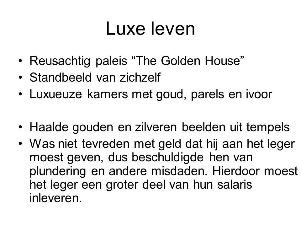 """Luxe leven Reusachtig paleis """"The Golden House"""" Standbeeld van zichzelf Luxueuze kamers met goud, parels en ivoor Haalde gouden en zilveren beelden ui"""