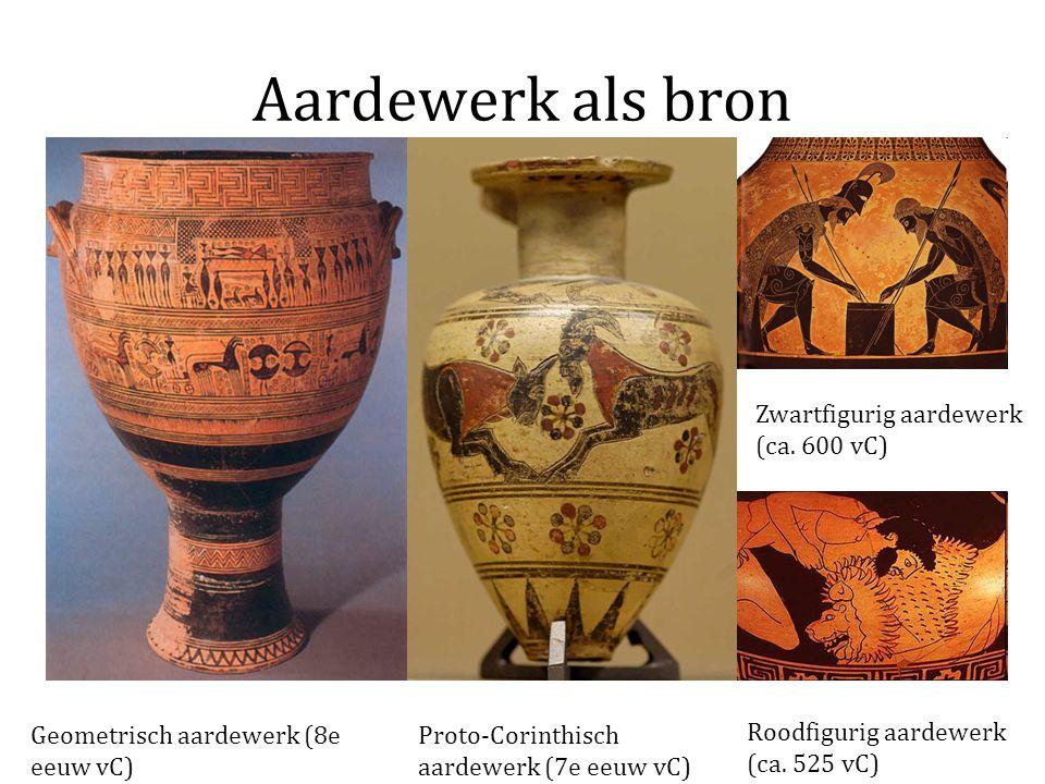 Aardewerk als bron Geometrisch aardewerk (8e eeuw vC) Proto-Corinthisch aardewerk (7e eeuw vC) Zwartfigurig aardewerk (ca. 600 vC) Roodfigurig aardewe