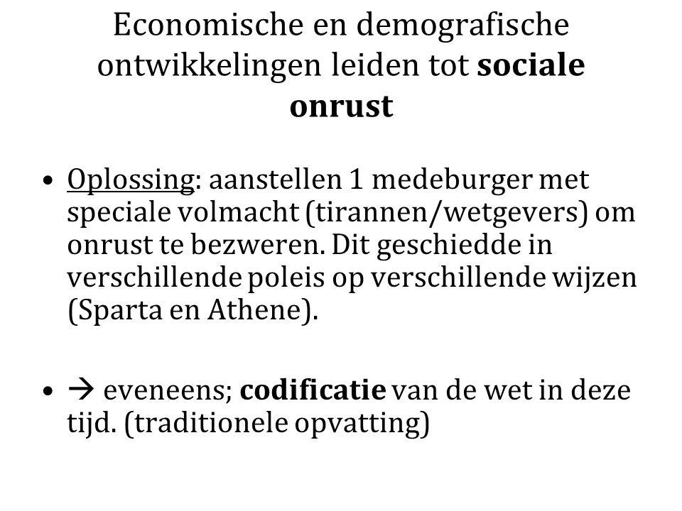 Economische en demografische ontwikkelingen leiden tot sociale onrust Oplossing: aanstellen 1 medeburger met speciale volmacht (tirannen/wetgevers) om