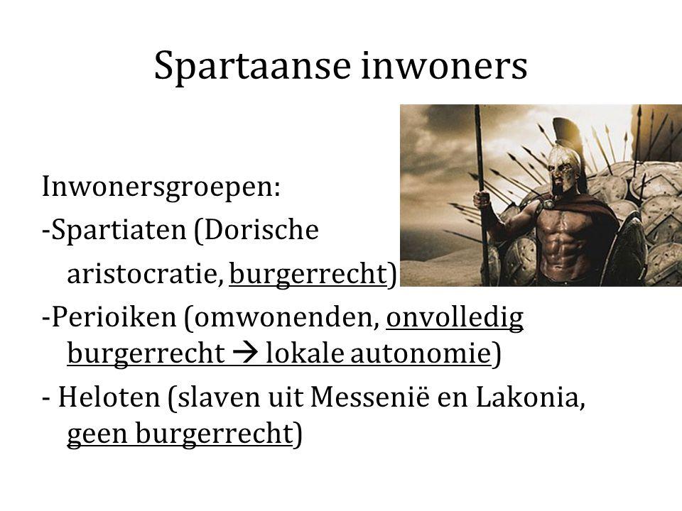Spartaanse inwoners Inwonersgroepen: -Spartiaten (Dorische aristocratie, burgerrecht) -Perioiken (omwonenden, onvolledig burgerrecht  lokale autonomi