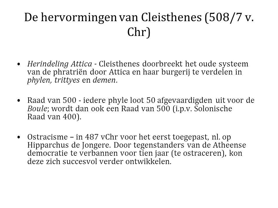 De hervormingen van Cleisthenes (508/7 v. Chr) Herindeling Attica - Cleisthenes doorbreekt het oude systeem van de phratriën door Attica en haar burge