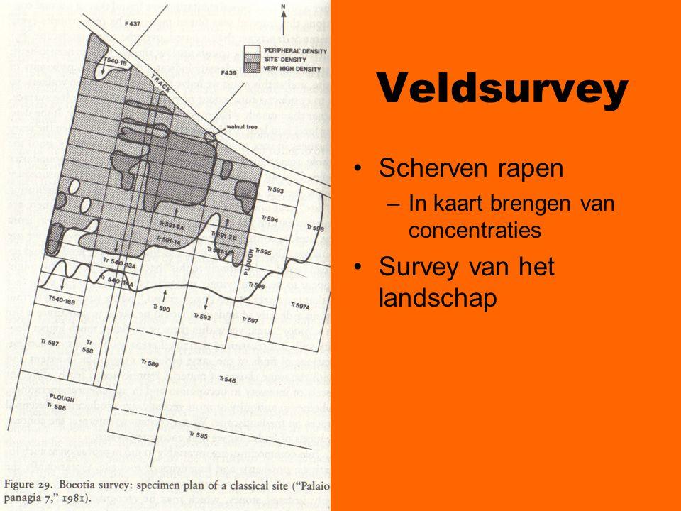 Veldsurvey Scherven rapen –In kaart brengen van concentraties Survey van het landschap