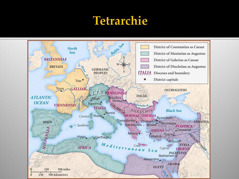  306: Keizer van het westen. Concurrentie: Maxentius (westen) en Licinius (oosten).