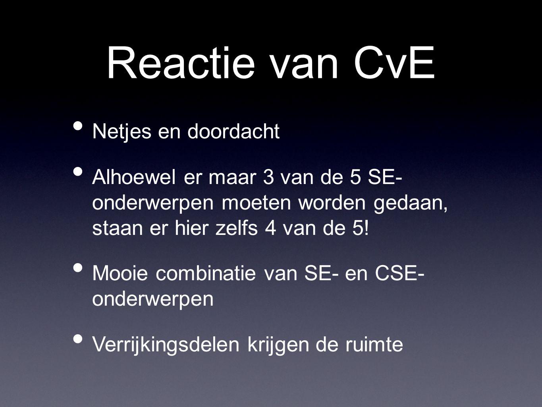 Reactie van CvE Netjes en doordacht Alhoewel er maar 3 van de 5 SE- onderwerpen moeten worden gedaan, staan er hier zelfs 4 van de 5! Mooie combinatie