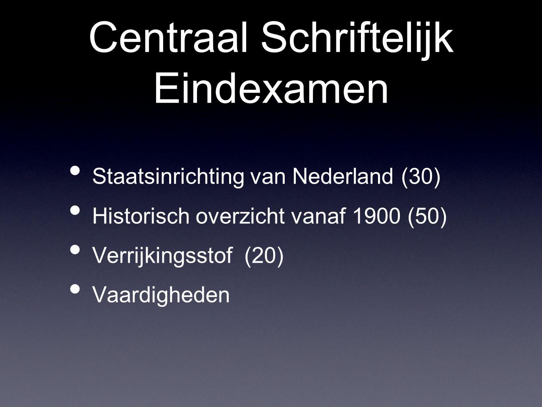 Centraal Schriftelijk Eindexamen Staatsinrichting van Nederland (30) Historisch overzicht vanaf 1900 (50) Verrijkingsstof (20) Vaardigheden