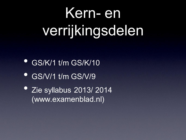 Kern- en verrijkingsdelen GS/K/1 t/m GS/K/10 GS/V/1 t/m GS/V/9 Zie syllabus 2013/ 2014 (www.examenblad.nl)