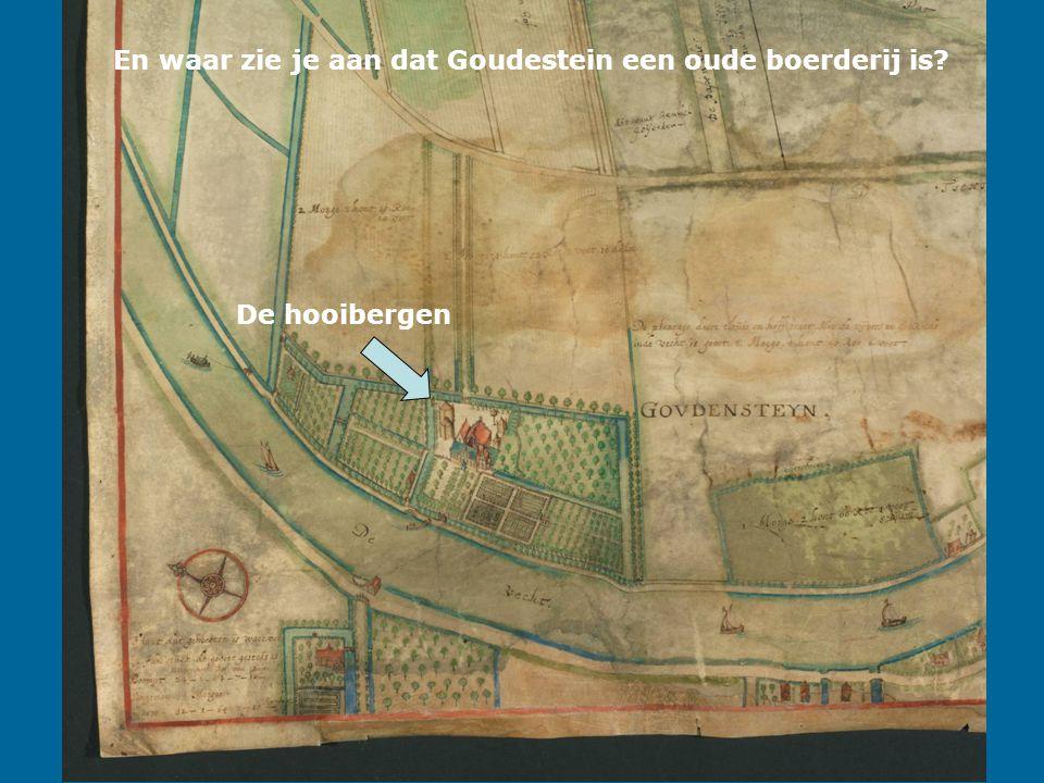 En waar zie je aan dat Goudestein een oude boerderij is De hooibergen