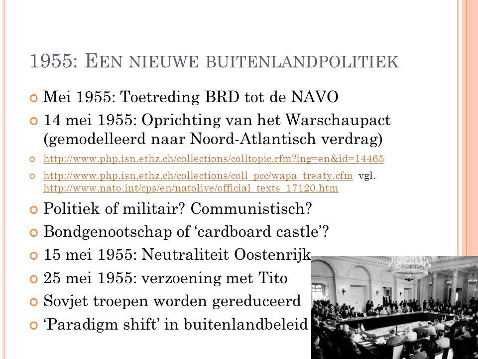 1955: E EN NIEUWE BUITENLANDPOLITIEK Mei 1955: Toetreding BRD tot de NAVO 14 mei 1955: Oprichting van het Warschaupact (gemodelleerd naar Noord-Atlantisch verdrag) http://www.php.isn.ethz.ch/collections/colltopic.cfm lng=en&id=14465 http://www.php.isn.ethz.ch/collections/coll_pcc/wapa_treaty.cfmhttp://www.php.isn.ethz.ch/collections/coll_pcc/wapa_treaty.cfm vgl.