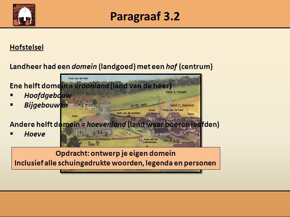 Paragraaf 3.2 Hofstelsel Landheer had een domein (landgoed) met een hof (centrum) Ene helft domein = vroonland (land van de heer)  Hoofdgebouw  Bijg