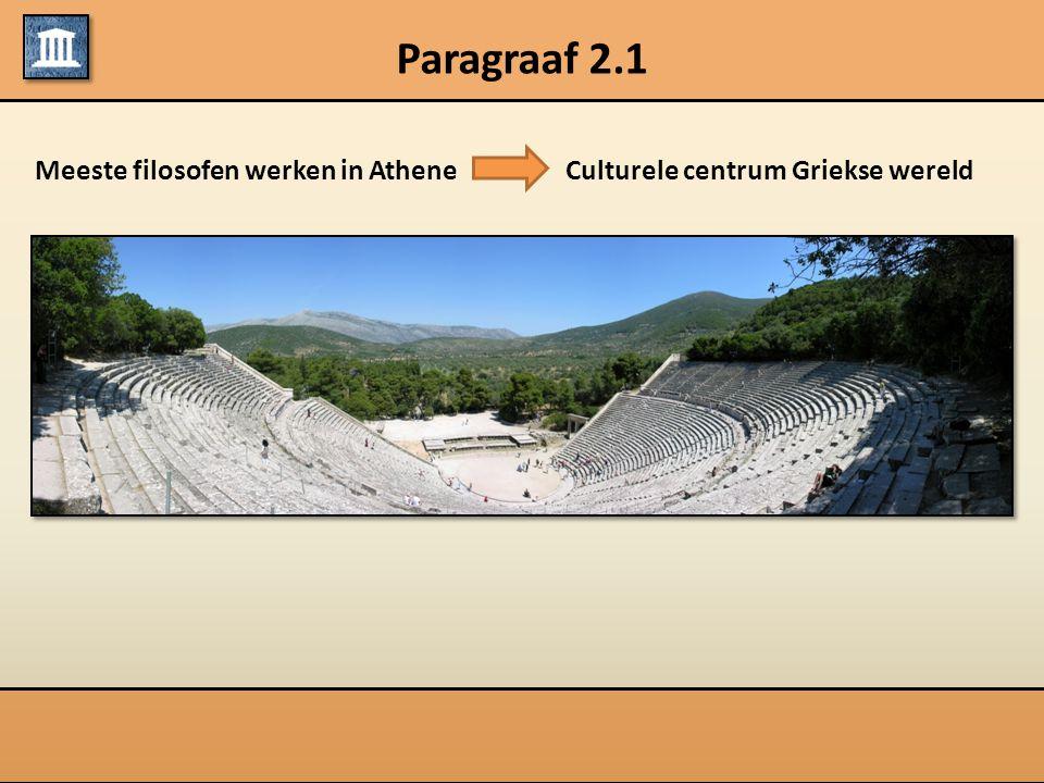 Paragraaf 2.1 Meeste filosofen werken in AtheneCulturele centrum Griekse wereld
