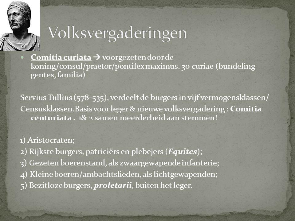 Comitia curiata  voorgezeten door de koning/consul/praetor/pontifex maximus. 30 curiae (bundeling gentes, familia) Servius Tullius (578-535), verdeel