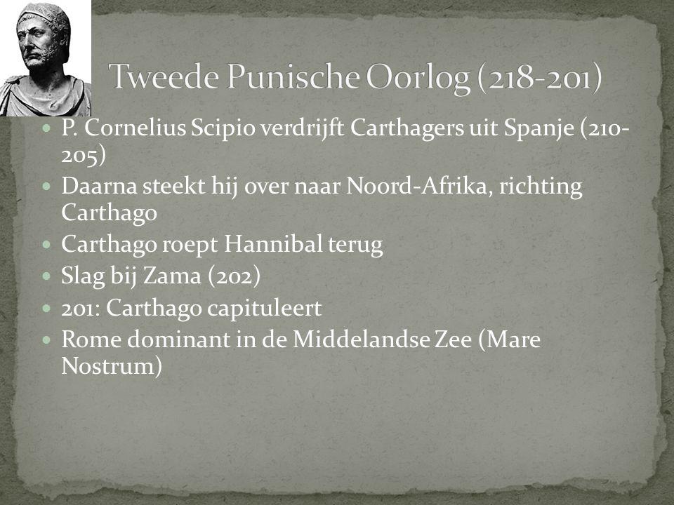 P. Cornelius Scipio verdrijft Carthagers uit Spanje (210- 205) Daarna steekt hij over naar Noord-Afrika, richting Carthago Carthago roept Hannibal ter