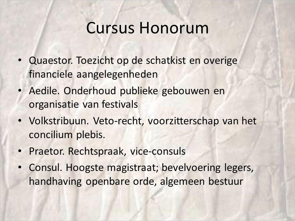 Cursus Honorum Quaestor. Toezicht op de schatkist en overige financiele aangelegenheden Aedile. Onderhoud publieke gebouwen en organisatie van festiva