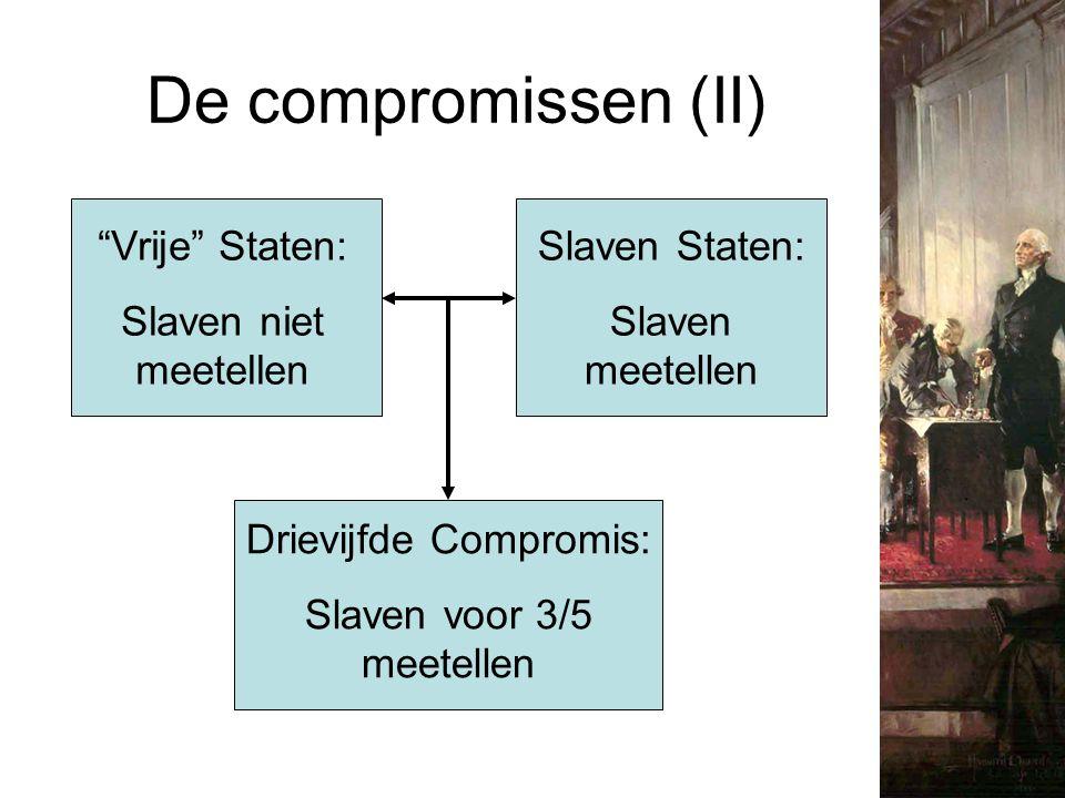 """De compromissen (II) """"Vrije"""" Staten: Slaven niet meetellen Slaven Staten: Slaven meetellen Drievijfde Compromis: Slaven voor 3/5 meetellen"""