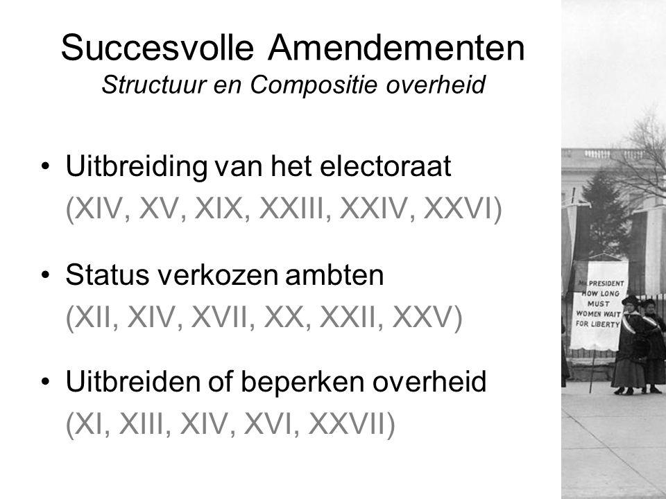 Succesvolle Amendementen Structuur en Compositie overheid Uitbreiding van het electoraat (XIV, XV, XIX, XXIII, XXIV, XXVI) Status verkozen ambten (XII
