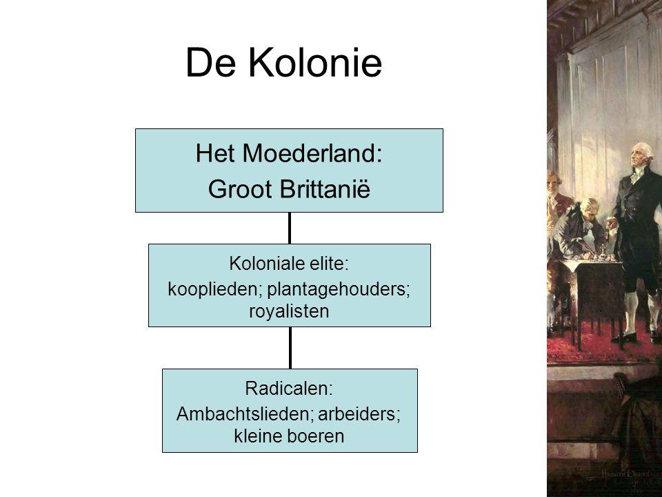 De Kolonie Het Moederland: Groot Brittanië Koloniale elite: kooplieden; plantagehouders; royalisten Radicalen: Ambachtslieden; arbeiders; kleine boere