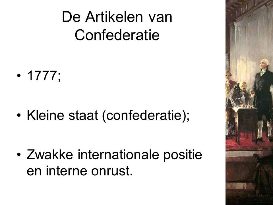 De Artikelen van Confederatie 1777; Kleine staat (confederatie); Zwakke internationale positie en interne onrust.