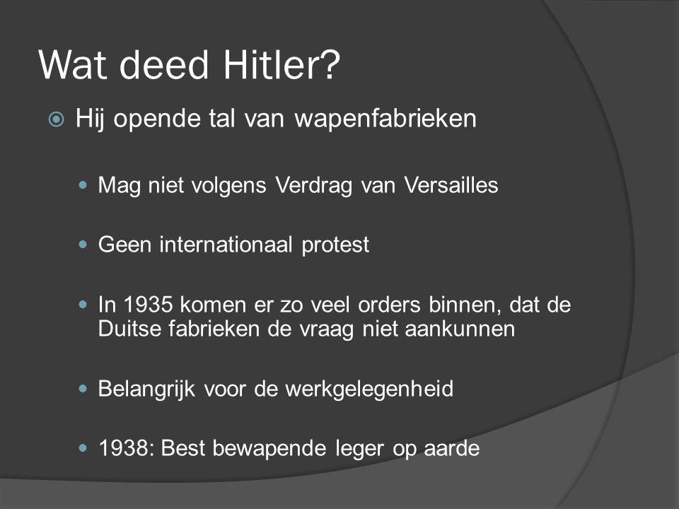 Wat deed Hitler?  Hij opende tal van wapenfabrieken Mag niet volgens Verdrag van Versailles Geen internationaal protest In 1935 komen er zo veel orde