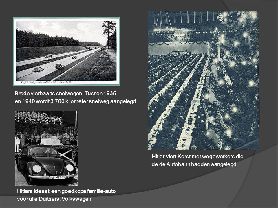 Hitler viert Kerst met wegewerkers die de de Autobahn hadden aangelegd Brede vierbaans snelwegen. Tussen 1935 en 1940 wordt 3.700 kilometer snelweg aa