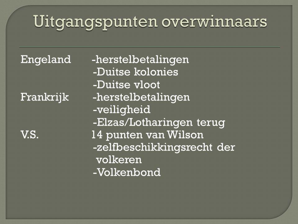Engeland -herstelbetalingen -Duitse kolonies -Duitse vloot Frankrijk -herstelbetalingen -veiligheid -Elzas/Lotharingen terug V.S.