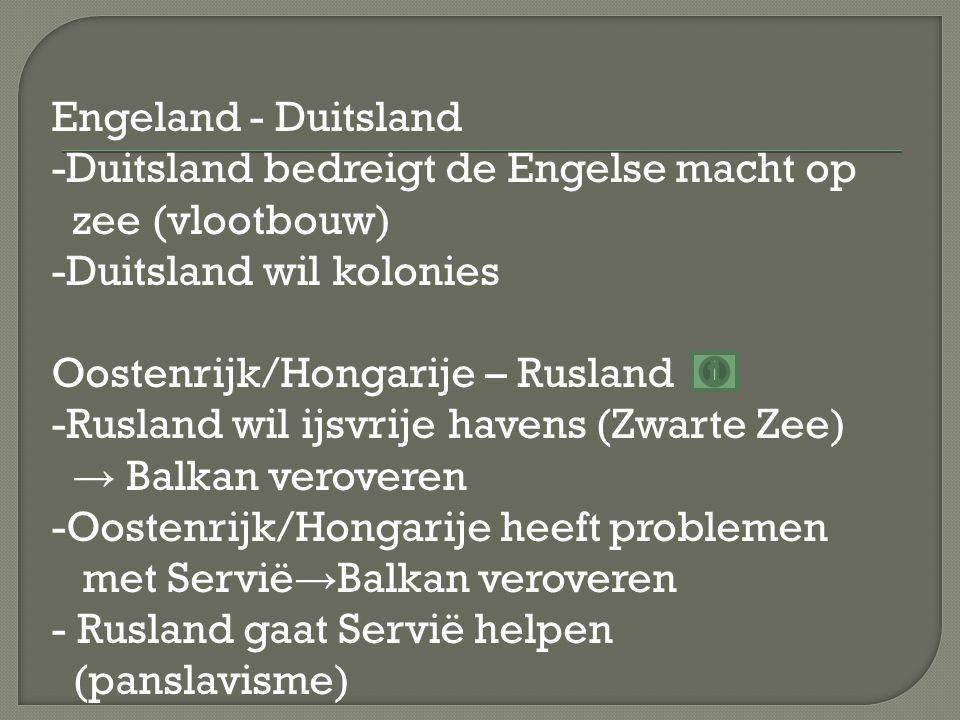 Engeland - Duitsland -Duitsland bedreigt de Engelse macht op zee (vlootbouw) -Duitsland wil kolonies Oostenrijk/Hongarije – Rusland -Rusland wil ijsvrije havens (Zwarte Zee) → Balkan veroveren -Oostenrijk/Hongarije heeft problemen met Servië → Balkan veroveren - Rusland gaat Servië helpen (panslavisme)