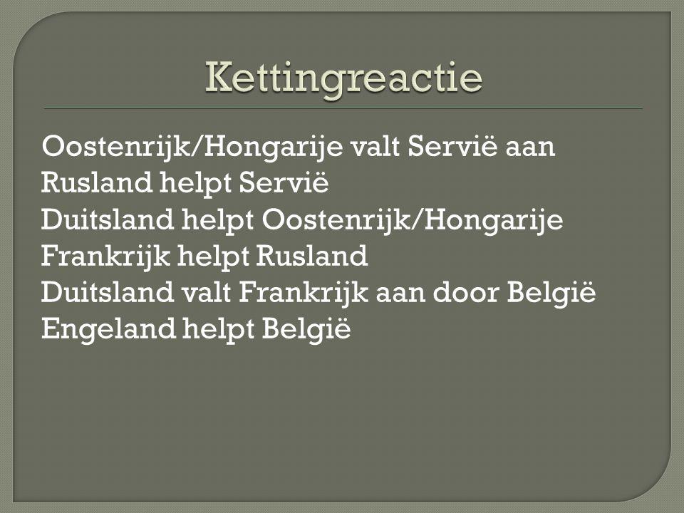 Oostenrijk/Hongarije valt Servië aan Rusland helpt Servië Duitsland helpt Oostenrijk/Hongarije Frankrijk helpt Rusland Duitsland valt Frankrijk aan door België Engeland helpt België