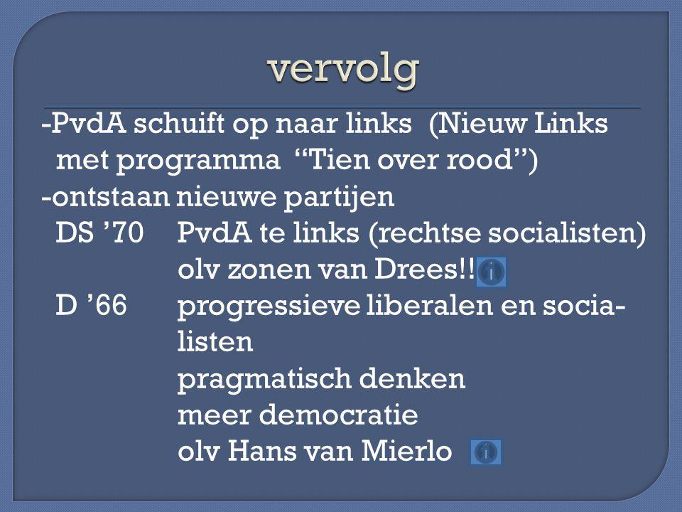 -PvdA schuift op naar links (Nieuw Links met programma Tien over rood ) -ontstaan nieuwe partijen DS '70PvdA te links (rechtse socialisten) olv zonen van Drees!.