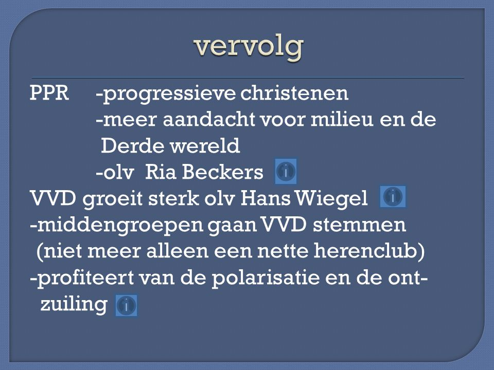 PPR -progressieve christenen -meer aandacht voor milieu en de Derde wereld -olv Ria Beckers VVD groeit sterk olv Hans Wiegel -middengroepen gaan VVD stemmen (niet meer alleen een nette herenclub) -profiteert van de polarisatie en de ont- zuiling