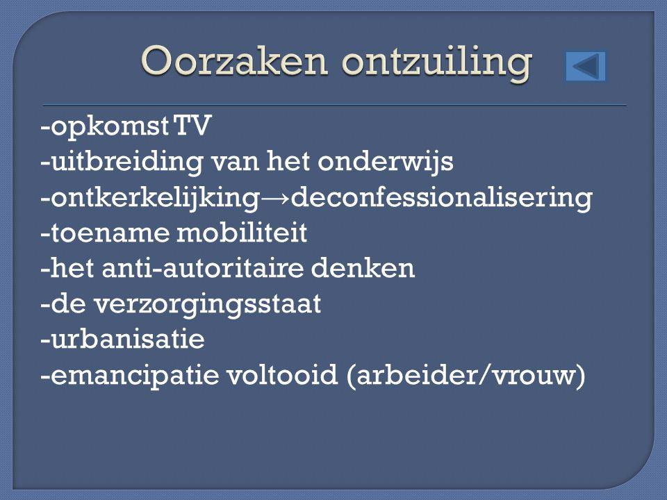 -opkomst TV -uitbreiding van het onderwijs -ontkerkelijking → deconfessionalisering -toename mobiliteit -het anti-autoritaire denken -de verzorgingsst
