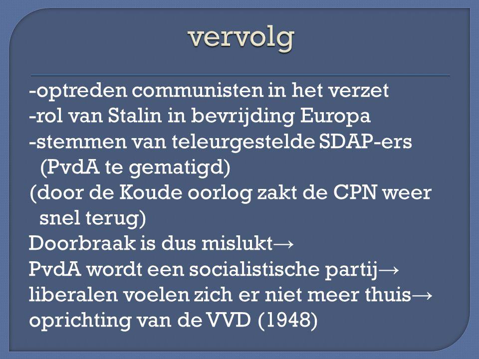 -optreden communisten in het verzet -rol van Stalin in bevrijding Europa -stemmen van teleurgestelde SDAP-ers (PvdA te gematigd) (door de Koude oorlog