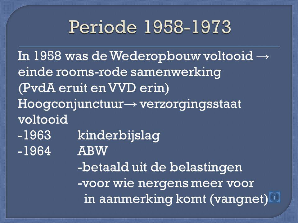 In 1958 was de Wederopbouw voltooid → einde rooms-rode samenwerking (PvdA eruit en VVD erin) Hoogconjunctuur → verzorgingsstaat voltooid -1963kinderbijslag -1964ABW -betaald uit de belastingen -voor wie nergens meer voor in aanmerking komt (vangnet)