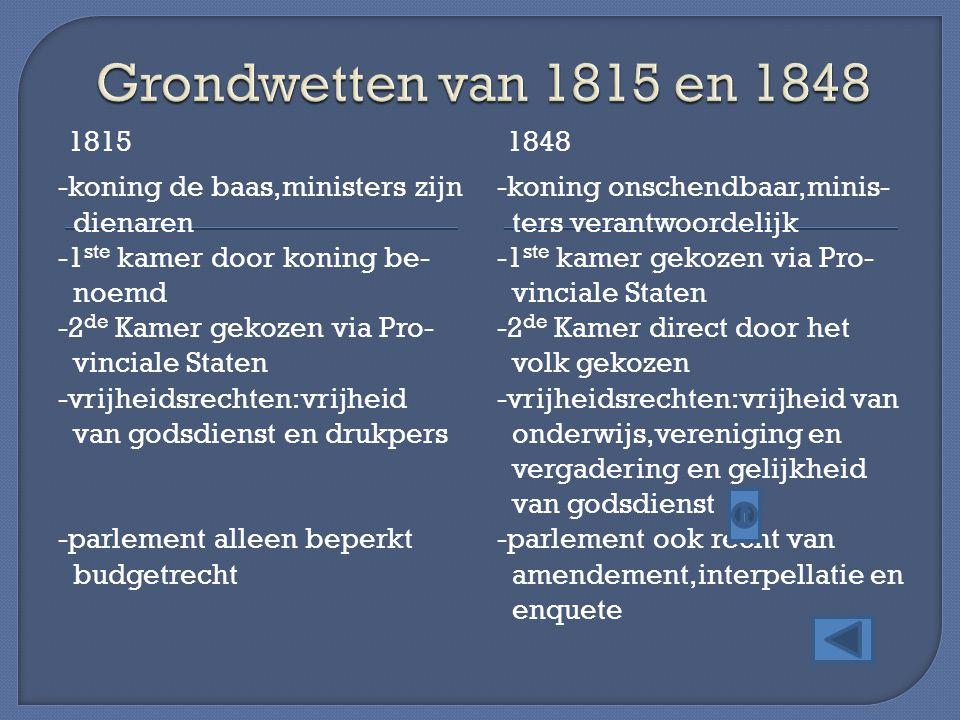 18151848 -koning de baas,ministers zijn dienaren -1 ste kamer door koning be- noemd -2 de Kamer gekozen via Pro- vinciale Staten -vrijheidsrechten:vri