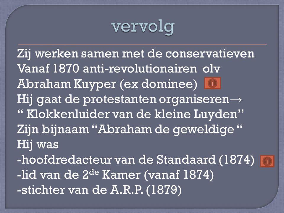 Als reactie op de partijvorming bij de andere stromingen ontstaat er ook een liberale partij, de Liberale Unie (1885) Eind 19 de eeuw splitst die zich in -oud liberalen nl Liberale Staatspartij -jong liberalen nl V.D.B.