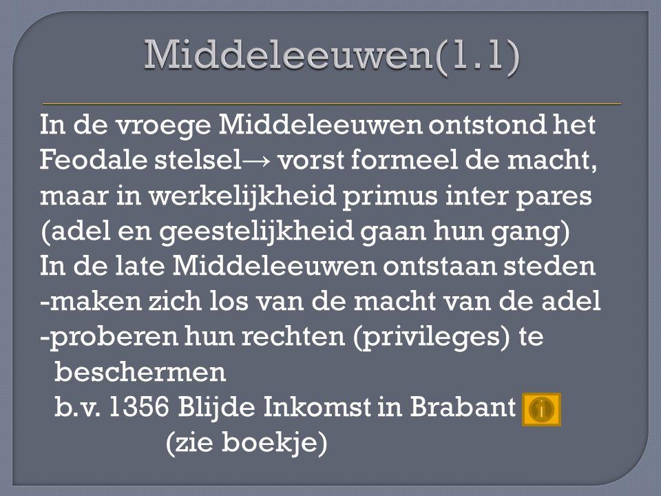 In de vroege Middeleeuwen ontstond het Feodale stelsel → vorst formeel de macht, maar in werkelijkheid primus inter pares (adel en geestelijkheid gaan