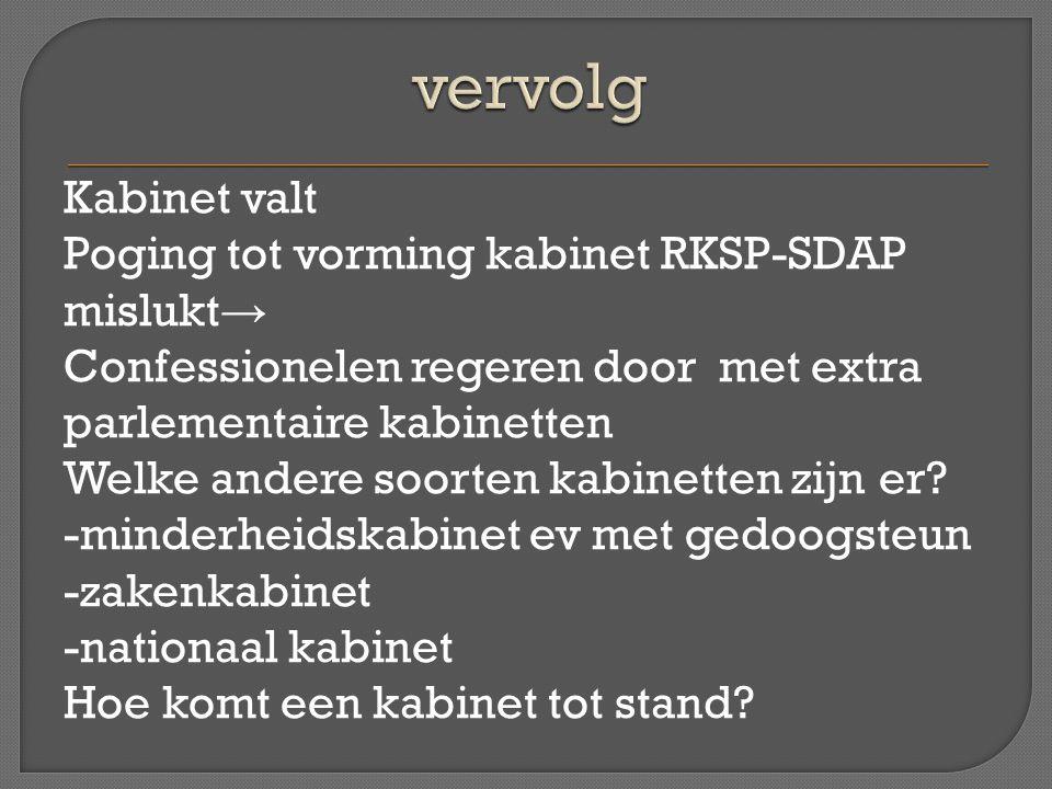 Kabinet valt Poging tot vorming kabinet RKSP-SDAP mislukt → Confessionelen regeren door met extra parlementaire kabinetten Welke andere soorten kabine