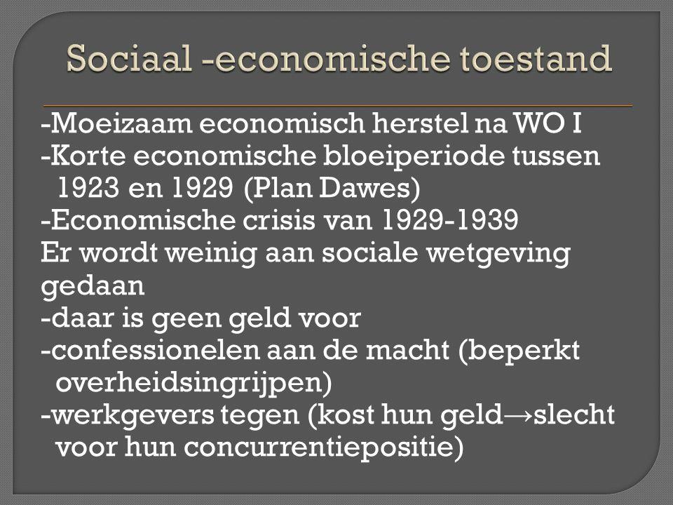 -Moeizaam economisch herstel na WO I -Korte economische bloeiperiode tussen 1923 en 1929 (Plan Dawes) -Economische crisis van 1929-1939 Er wordt weini