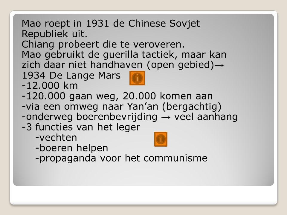 Mao roept in 1931 de Chinese Sovjet Republiek uit.