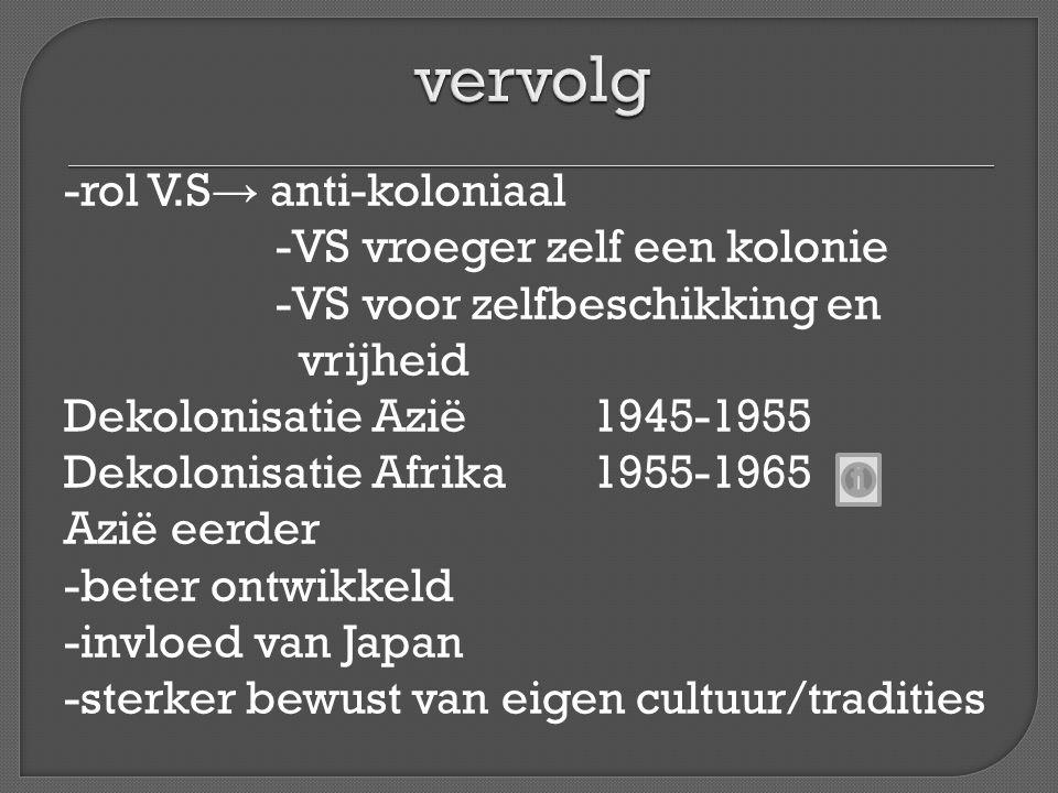 -rol V.S → anti-koloniaal -VS vroeger zelf een kolonie -VS voor zelfbeschikking en vrijheid Dekolonisatie Azië1945-1955 Dekolonisatie Afrika1955-1965