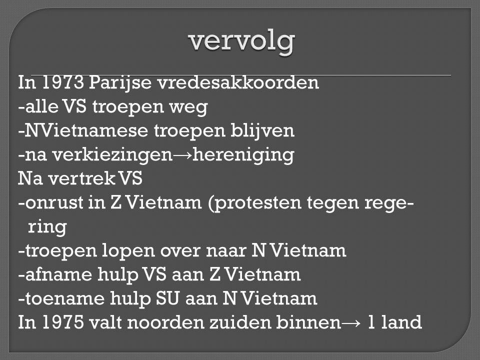 In 1973 Parijse vredesakkoorden -alle VS troepen weg -NVietnamese troepen blijven -na verkiezingen → hereniging Na vertrek VS -onrust in Z Vietnam (pr
