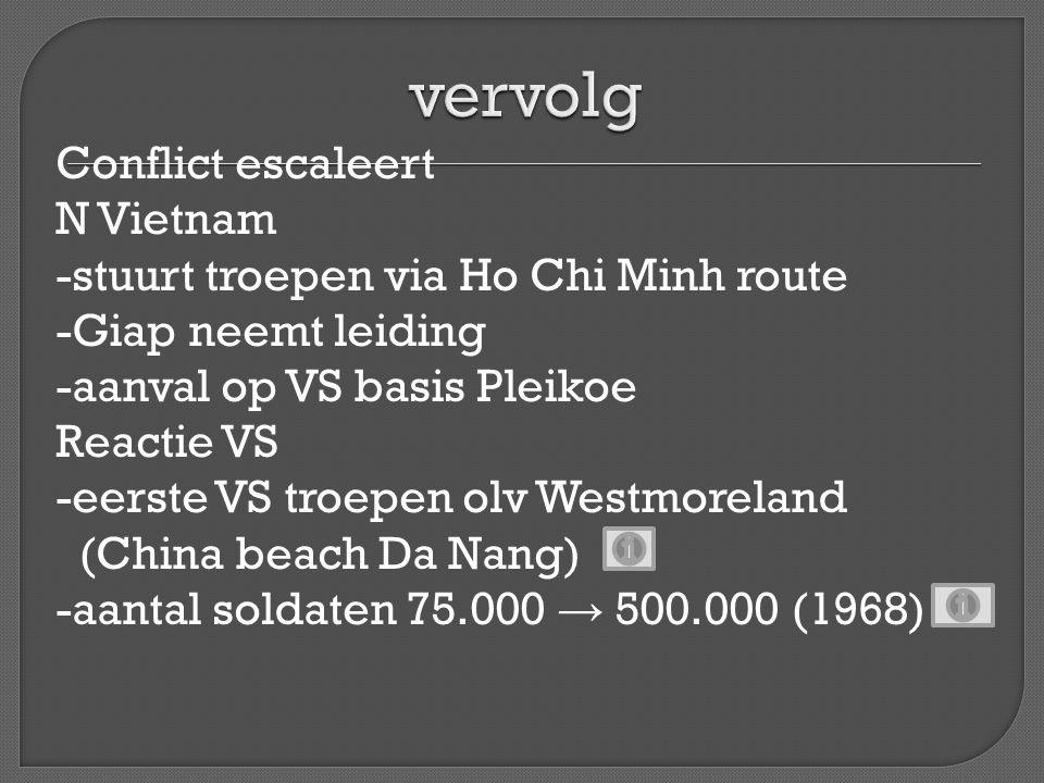 Luchtoorlog -bombardementen op N Vietnam (operatie Roling Thunder) -bombardementen in Z Vietnam (napalm, agent orange) Grondoorlog Slechte samenwerking met Z Vietnamese leger (800.000 man) -geringe gevechtskracht → grote verliezen -veel deserteurs