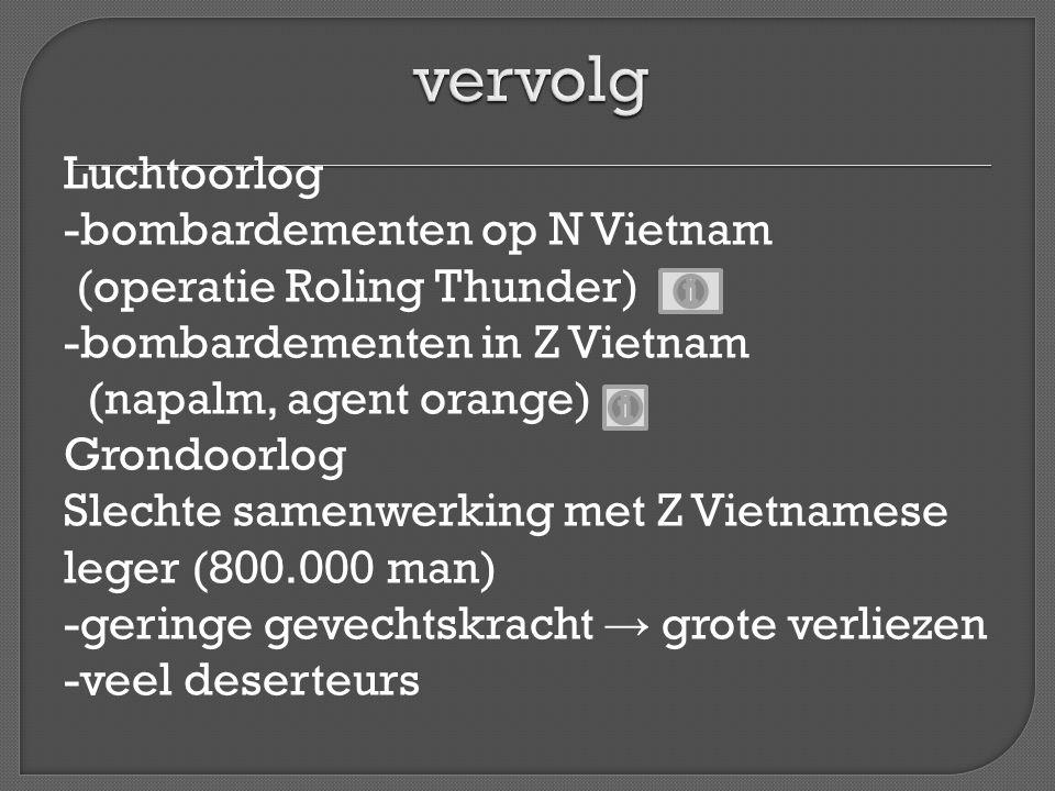 Luchtoorlog -bombardementen op N Vietnam (operatie Roling Thunder) -bombardementen in Z Vietnam (napalm, agent orange) Grondoorlog Slechte samenwerkin