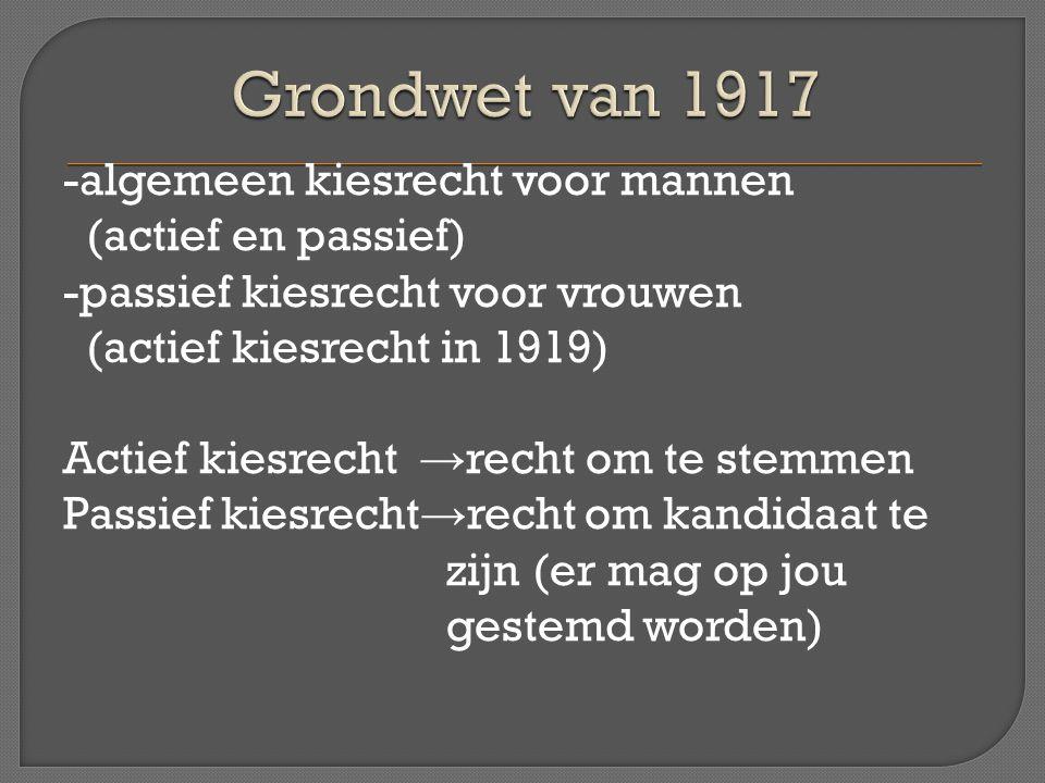 -algemeen kiesrecht voor mannen (actief en passief) -passief kiesrecht voor vrouwen (actief kiesrecht in 1919) Actief kiesrecht → recht om te stemmen