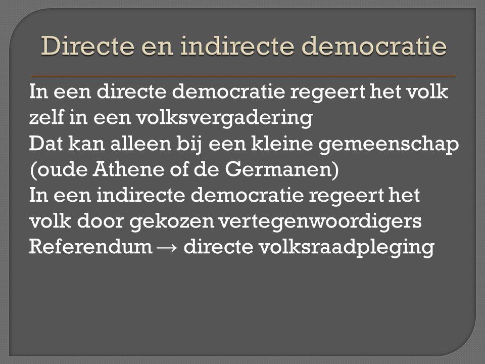 In een directe democratie regeert het volk zelf in een volksvergadering Dat kan alleen bij een kleine gemeenschap (oude Athene of de Germanen) In een