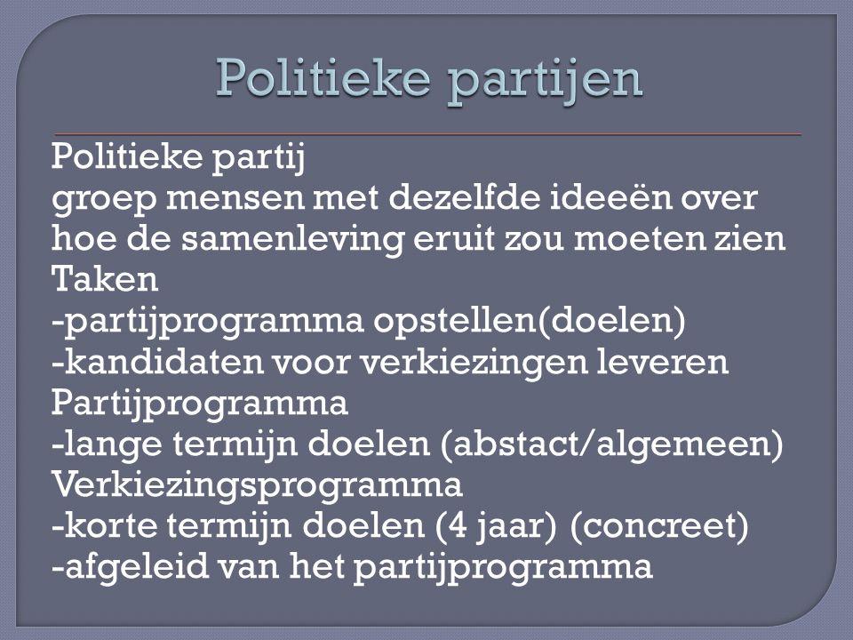 Politieke partij groep mensen met dezelfde ideeën over hoe de samenleving eruit zou moeten zien Taken -partijprogramma opstellen(doelen) -kandidaten v