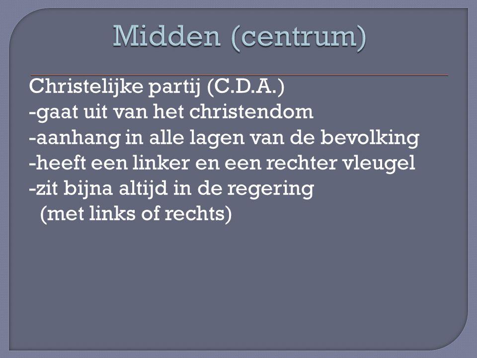 Christelijke partij (C.D.A.) -gaat uit van het christendom -aanhang in alle lagen van de bevolking -heeft een linker en een rechter vleugel -zit bijna