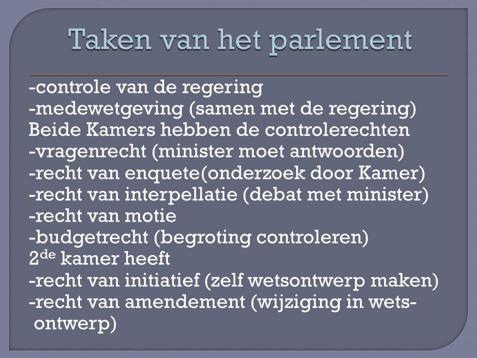 -controle van de regering -medewetgeving (samen met de regering) Beide Kamers hebben de controlerechten -vragenrecht (minister moet antwoorden) -recht