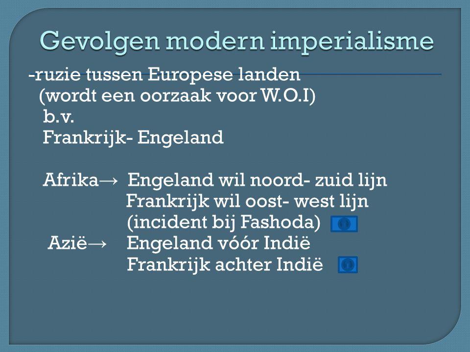-ruzie tussen Europese landen (wordt een oorzaak voor W.O.I) b.v. Frankrijk- Engeland Afrika → Engeland wil noord- zuid lijn Frankrijk wil oost- west