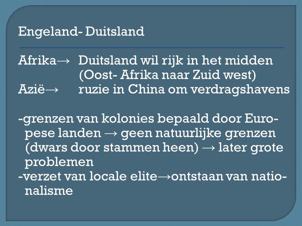 Engeland- Duitsland Afrika → Duitsland wil rijk in het midden (Oost- Afrika naar Zuid west) Azië → ruzie in China om verdragshavens -grenzen van kolon