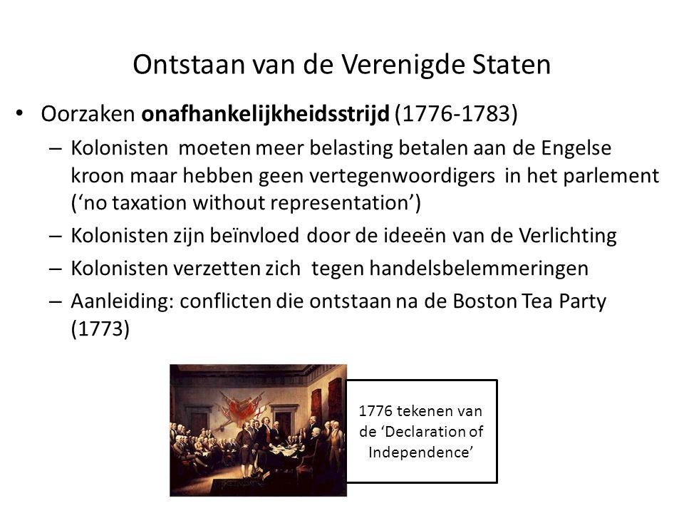 Oorzaken onafhankelijkheidsstrijd (1776-1783) – Kolonisten moeten meer belasting betalen aan de Engelse kroon maar hebben geen vertegenwoordigers in h