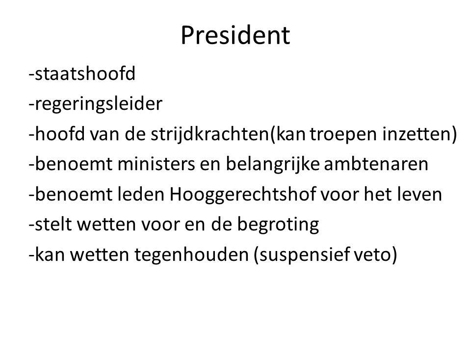 President -staatshoofd -regeringsleider -hoofd van de strijdkrachten(kan troepen inzetten) -benoemt ministers en belangrijke ambtenaren -benoemt leden